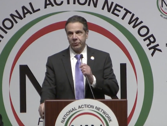 Gov. Andrew Cuomo delivers a speech at the National