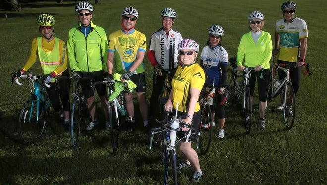 Gail Cookson of Bridgewater, 62, an Ironman triathlete, before a ride with her bicycling group, the Bedminster Flyers Cycling Club, at Natirar in Peapack on June 7, 2016. From left, Ljiljana Harding of Basking Ridge, Marc Rothenberg of Warren, Jack Reeves of Asbury, Ken Kerpez of Long Valley, Cookson, Bobi Commer of Basking Ridge, Lynn Tsuzuki of Branchburg, and Angel Garcia of Long Valley.