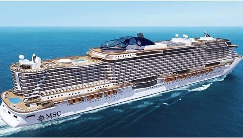 An artist's drawing of a new, 154,000-ton cruise ship planned for MSC Cruises.