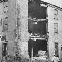 Staunton Leader photograph of the collapsed wall of the American Hotel. Neglect nearly doomed Staunton's only surviving hotel from the Civil War era.