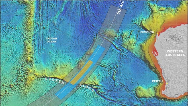 """Searchers will focus on a 350-nautical-mile-long stretch (yellow) of the """"7th arc,"""" the area where authorities hope to find Malaysia Airlines Flight MH370, which vanished in March."""