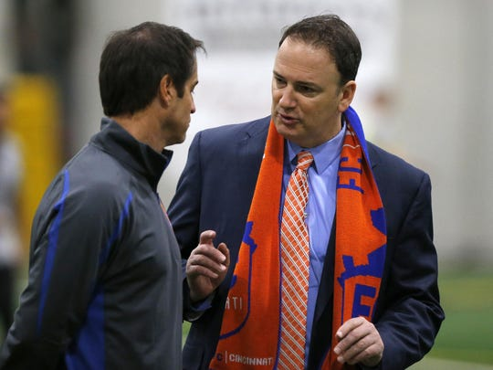Futbol Club Cincinnati President and General Manager Jeff Berding, right, will be honored as one of two Cincinnatians of the year, Mayor John Cranley says.