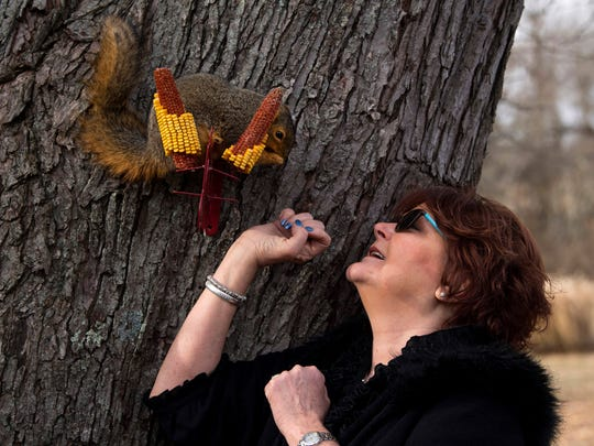Cindy Dye of Oakland City, Ind., greets Baby, a squirrel she raised from infancy, Wednesday morning. Her son, Blaine Dye, found the critter fallen from its nest behind mom's hair salon in July and now it calls the Dye's backyard its home.