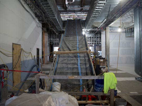 The stairway from the first floor to the second floor at the Indiana University School of Medicine-Evansville nears completion Thursday morning.