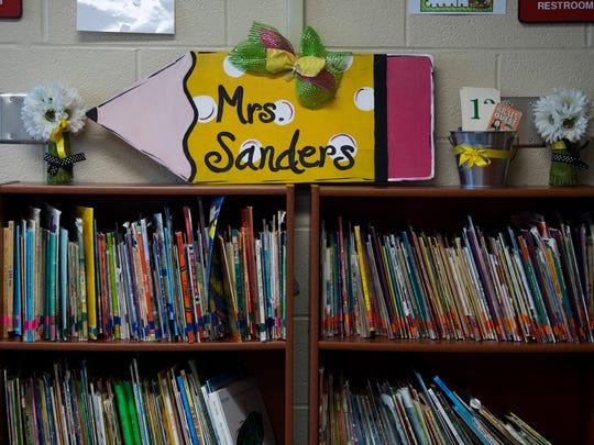 Second grade teacher Brooke Sanders' walls and shelves