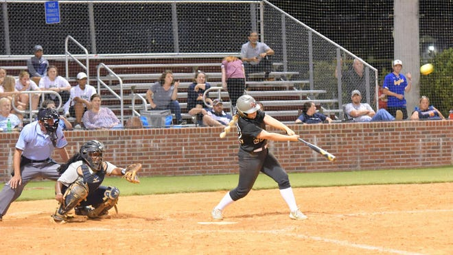 Mattie Turner gets an RBI double in the top of the fourth up 6-0 over the Lady Eagles as they go on to win Game 2 Thursday.