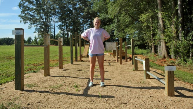 Kori Still built a seven-station community fitness area as a part of her Gold Award for Girl Scouts. The station is located at Burns High School.