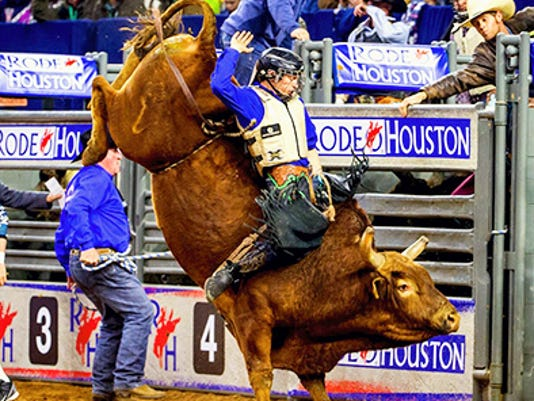 Dustin Bowen of Fredericksburg has qualified for the National Rodeo competition. Here he competes in Houston at the beginning of the year. Submitted photo.