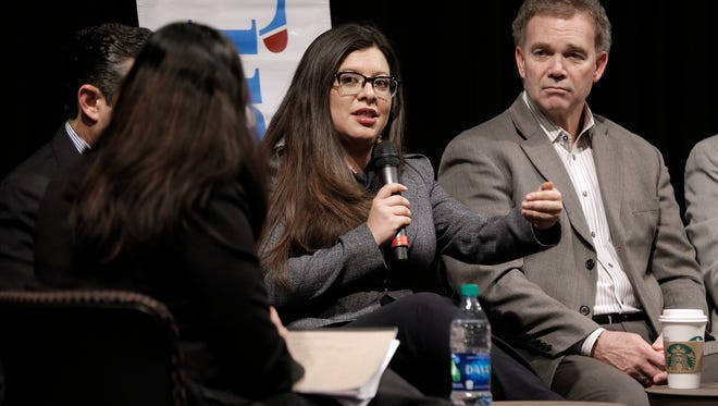 State Rep. Mary Gonzalez, District 75, answers questions during the second Times Live event Friday at the UTEP Union Cinema. Five state representatives gave viewers on Facebook Live an opportunity to ask questions of state legislators.