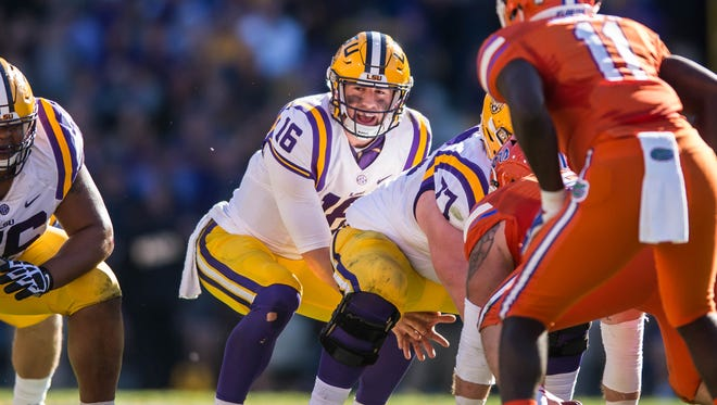 LSU Tigers quarterback Danny Etling (16) waits for the snap as the Tigers fall to the Gators by a final score of 16-10 in Death Valley, November 19, 2016.