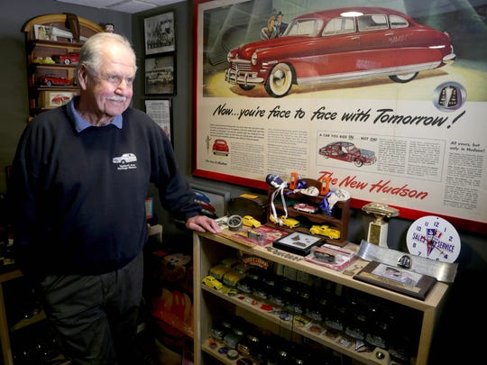 Harper Woods mayor Ken Poynter with his collection of items from the Hudson car line on May 6, 2017 in Harper Woods.
