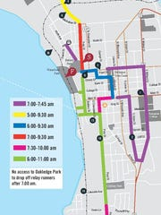 Map of street closures in Burlington for 2018 Vermont City Marathon on Sunday, May 27, 2018.