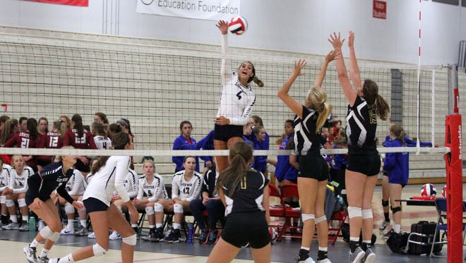 Brooke Andersen elevates for an attack for Lake Country Lutheran at The Joust on Aug. 26.