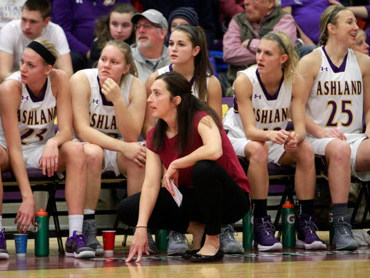 """In this Dec. 30, 2017 photo, Ashland University's head coach Robyn Fralick watches from the bench against Bellarmine University during an NCAA women's basketball game at Kates Gymnasium in Ashland, Ohio. Ashland broke the NCAA Division II record with their 52nd consecutive win back on Jan. 6. """"The streak is just a byproduct of other things being good, people working hard and putting the team first,"""" said Fralick, who played Division I basketball at Davidson. (Tom E. Puskar/The Times Gazette via AP)"""