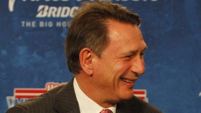 Detroit Red Wings general manager Ken Holland smiles Feb. 9, 2012.