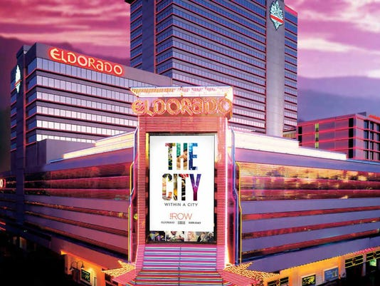 """An evening shot of the Eldorado with its new rebranding as part of """"The Row,"""" which also includes the Silver Legacy and Circus Circus."""