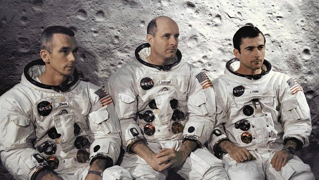 Astronauts Eugene A. Cernan, Thomas P. Stafford and John W. Young  pose for a publicity photo for the Apollo 10 mission in 1969.