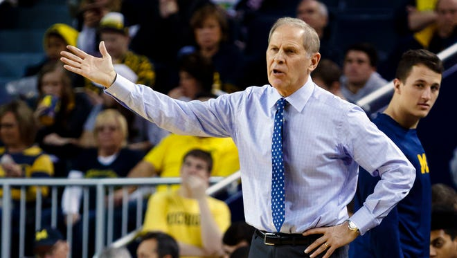 Dec 17, 2016; Ann Arbor, MI, USA; Michigan Wolverines head coach John Beilein reacts during the first half against the Maryland-Eastern Shore Hawks at Crisler Center.