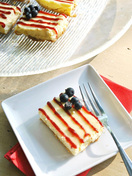 Unfurl the red, white and blue with patriotic cheesecake bars