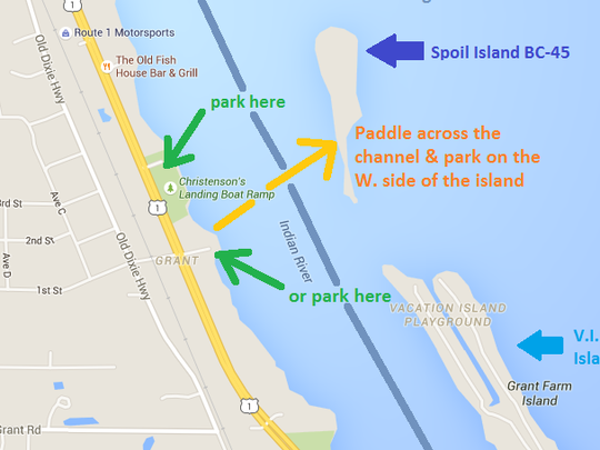 Directions and tips for accessing spoil island BC-45.