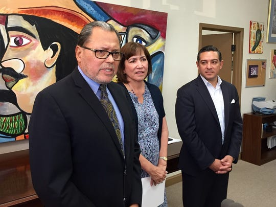 State Sen. José Rodríguez and State Reps. Lina Ortega and Cesar Blanco speak at an event in El Paso. Rodríguez and Ortega have asked the state to delay implementation of the pilot program.