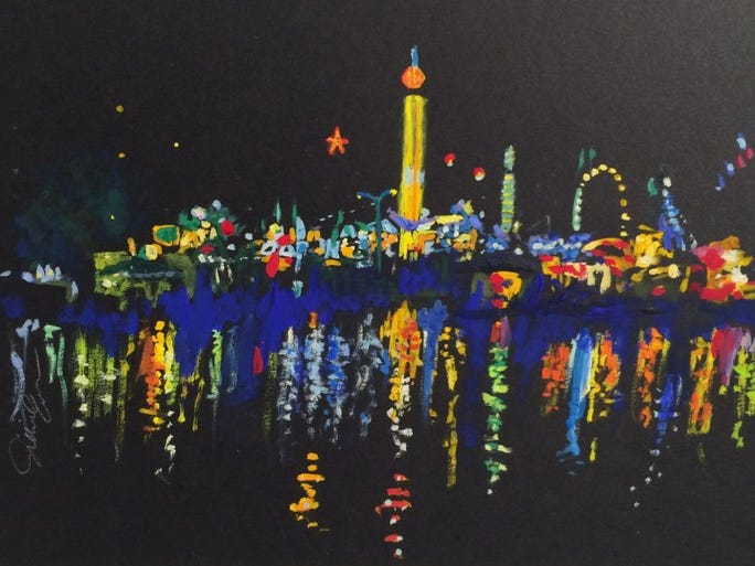 Jillie Eves' rendering of the lights at the Tennessee Valley Fair at night.