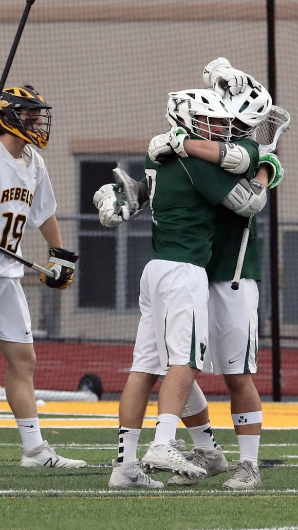 Yorktown celebrates a goal as they defeated Lakeland-Panas 17-3 in the 29th annual Murphy Cup lacrosse game at Lakeland High School in Shrub Oak May 4, 2018.