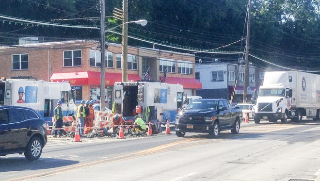 Traffic is backed up on Route 9A and I-287 due to a water main break in Elmsford, N.Y. on Aug. 12, 2015.