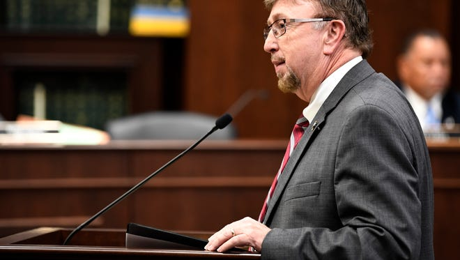 Rep. David Byrd speaks about a bill on Feb. 28, 2018, at the Cordell Hull Building in Nashville.