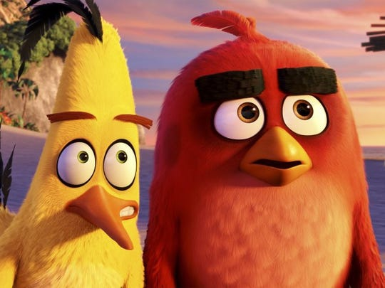 Chuck is voiced by Josh Gad (left), and Red is voiced