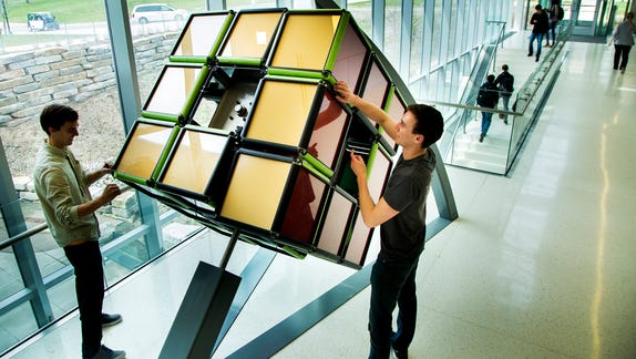 Massive Rubik's Cube installed on University of Michigan campus