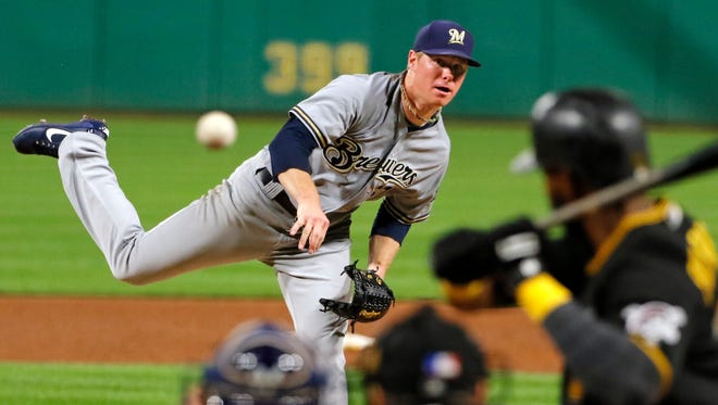 Brewers starting pitcher Chase Anderson goes six shutout innings against the Pirates, allowing fives hits without a walk while striking out eight on Tuesday night at PNC Park.