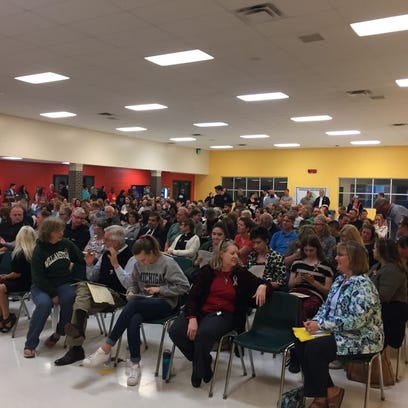 More than 150 people packed into the Williamston Middle