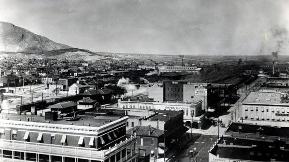 El Paso, TX, circa 1910. Looking northeast from the Federal Building, southeast corner of Oregon and St. Louis (now Mills) streets. (St. Louis changed to Mills in 1910.) With the St. Louis Hotel in center of photo.