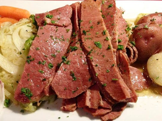 Corned beef 'n cabbage platter at The Quiet Man.