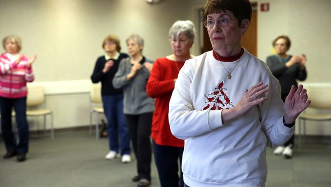 Mary Brophy of Wanaque during the New Vitality Tai Chi Chih class at Chilton Medical Center's Collins Pavililion. February 4, 2016, Pequannock, NJ.