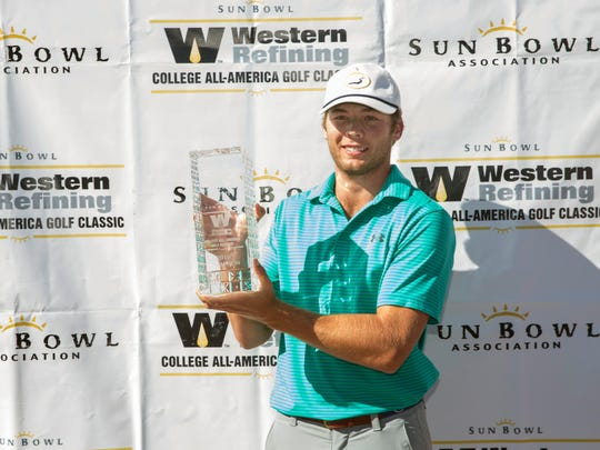 Sam Burns of LSU poses with the Lee Trevino Trophy after winning the 42nd Annual Sun Bowl Western Refining College All-America Golf Classic at the El Paso Country Club, Sunday, November 13, 2016, in El Paso, TX.