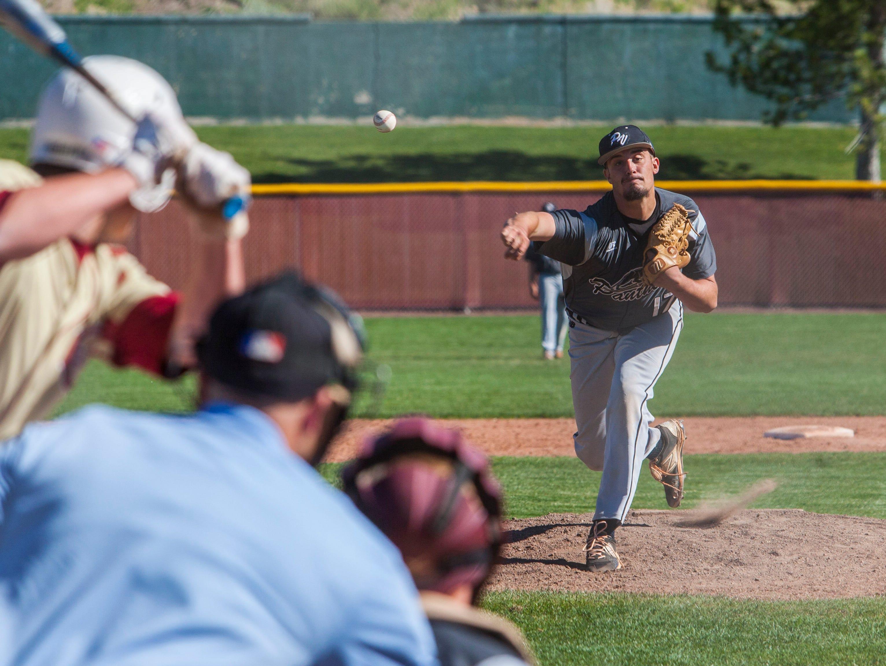 Pine View's Dakota Donovan throws a pitch during the game against Cedar, Tuesday, April 19, 2016.