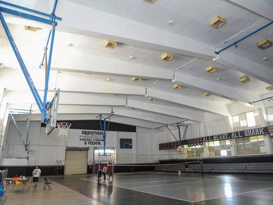 The ceiling of the gymnasium at Simon Sanchez High School sports a new coat of white paint which helps to brighten the interior as seen at the Yigo campus on Wednesday, Aug. 10.