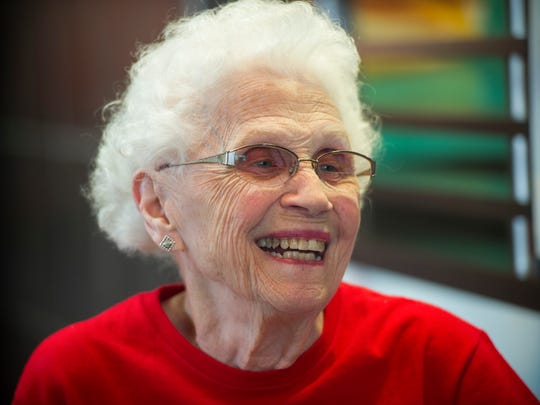 Loraine Maurer of Evansville, greets friends and customers during a party at McDonalds on North Green River Road in Evansville, Thursday, March 23, 2017. Maurer, 94, has worked for McDonalds since 1973.