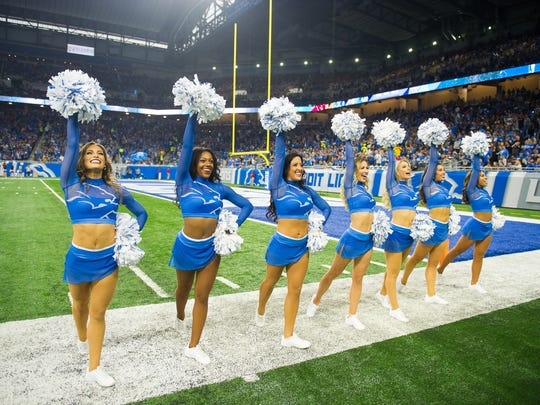 Lions cheerleaders take the field during the season