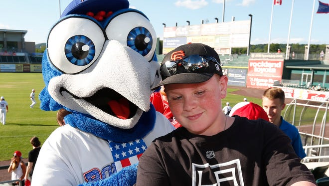 Rockland Boulders mascot Boulder Bird takes a selfie with a fan prior to their game against Trois-Rivieres Aigles at Palisades Credit Union Park in Pomona on Saturday, July 02, 2016.