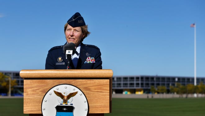 In this Oct. 3 photo, U.S. Air Force Academy Superintendent Lt. General Michelle Johnson speaks with members of the media.