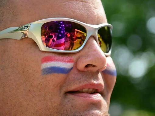 """""""The Stars and Stripes reflected in the sunglasses of one of the ruckers that participated in the first ever Carry The Fallen ruck march in Louisville, Ky. to raise funds and awareness for Active Heroes and their fight to eliminate veteran suicide."""""""