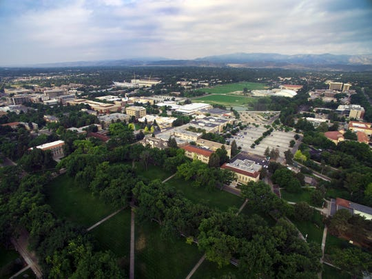 An aerial view looking west across the CSU campus from