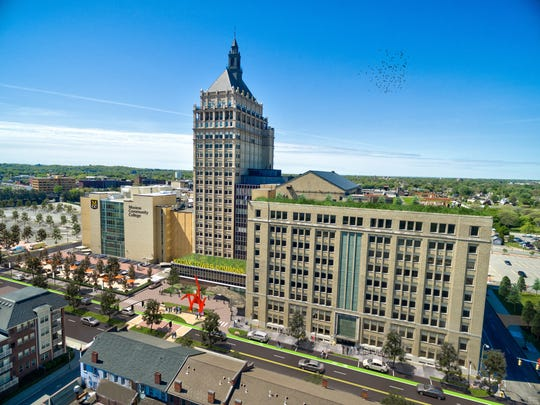 A concept of a remade Kodak Tower Commons and Monroe