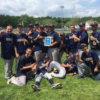 The Highland High School baseball team celebrates its Section 9 Class B title Saturday in Saugerties.