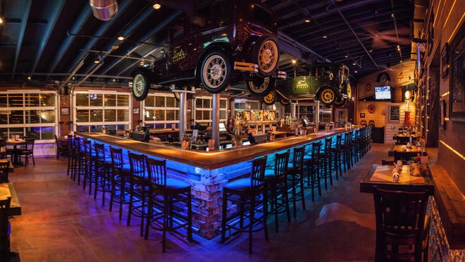 The bar in Ford's Garage Restaurant in downtown Cape Coral, Florida.