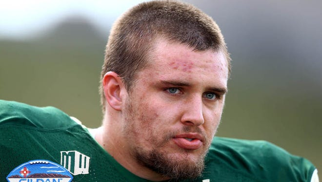 Colorado State Rams offensive lineman Weston Richburg prior to the game against the Washington State Cougars during the Gildan New Mexico Bowl at University Stadium on Dec. 21, 2013.