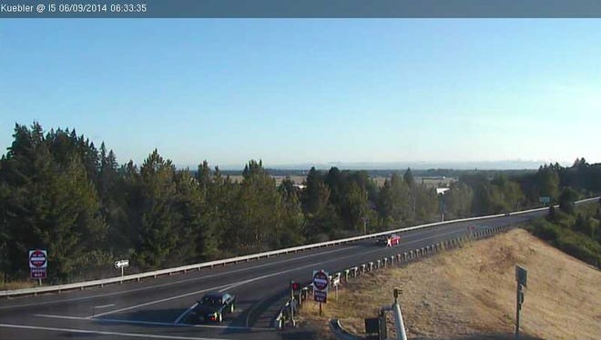 The image is taken from a City of Salem traffic camera at Kuebler Boulevard and Interstate 5 South.
